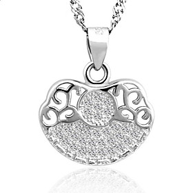 Classic Real 925 Sterling Silver Hollow Lucky Lock Pendants Necklace Super F..