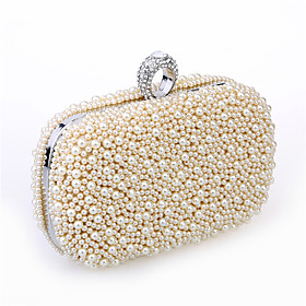 Women's Bags Satin / Metal Evening Bag Beading / Imitation Pearl / Crystal / Rhinestone Solid Colored Black / Beige / Champagne / Wedding Bags / Wedding Bags