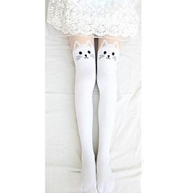 Image of Socks/Stockings Sweet Lolita Lolita Lolita Red / White / Black / Ink Blue Lolita Accessories Stockings Print For Women Velvet