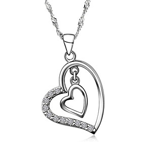 Super Trendy Real Austrian Rhinestone Crystal Double Heart Pendant Necklace ..