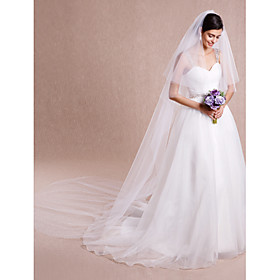 Wedding Veil Two-tier Cathedral Veils Cut Edge Tulle White / Ivory