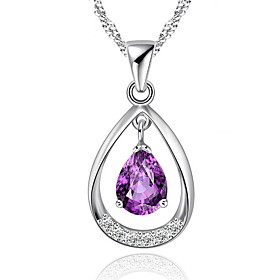 Classic 925 Sterling Silver Jewelry Amethyst Rhinestone Water Drop Pendant C..