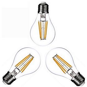 3 pcs KWB E26/E27 4W 4 COB 400 lm Warm White A60(A19) edison Vintage LED Filament Bulbs AC 110-130 / AC 220-240 V