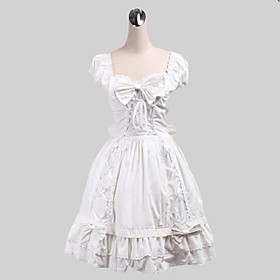 Image of One-Piece/Dress Sweet Lolita Lolita Cosplay Lolita Dress White Solid Sleeveless Medium Length Dress For Women Cotton
