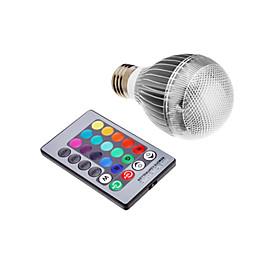 9W E26/E27 LED Globe Bulbs Integrate LED 500 lm RGB Remote-Controlled AC 85-265 V