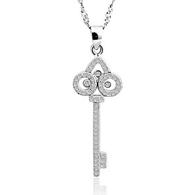 Cute Real 925 Sterling Silver Key Pendant Water Wave Chain Necklace Elegant ..