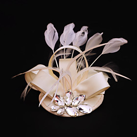 Rhinestone Feather Satin Fascinators Headpiece Classical Feminine Style 4984091