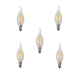 5pcs  E14 4W 400LM Warm/Cool White Candle Bulbs 360 Degree LED Filament Lamp (220V)