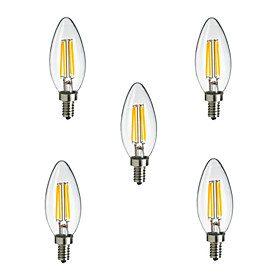 5pcs HRY E14 4W 400LM Warm/Cool White 360 Degree Edison Filament Light LED Candle Bulb(220V)