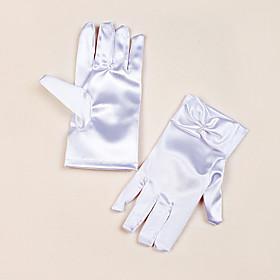 Wrist Length Fingertips Glove Satin Flower Girl Gloves Spring Summer Fall Winter Bow