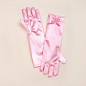 Opera Length Fingertips Glove Satin Flower Girl Gloves Spring Summer Fall Winter Bow