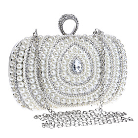 Women's Bags Polyester Clutch / Evening Bag / Cosmetic Bag Imitation Pearl / Crystal / Rhinestone Geometric Gold / Silver / Wedding Bags / Wedding Bags