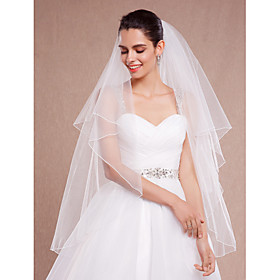 Wedding Veil Two-tier Blusher Veils / Fingertip Veils Pencil Edge Tulle White / Ivory