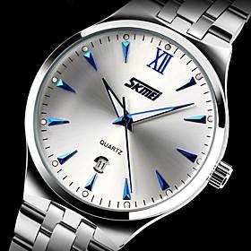 SKMEI Men's Dress Watch Japanese Quartz Calendar/Water Resistant Stainless Steel Wristwatch Cool Watch Unique Watch Fashion Watch