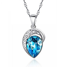 Classic Big Rhinestone Heart of The Ocean Sapphire Pendant Real 925 Silver N..