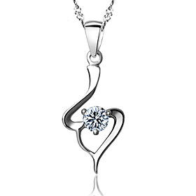 Real 925 Silver White Crystal Pendant Necklaces With Round Rhinestone Stone ..
