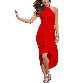 Women's Beach Simple Loose Dress,Solid Halter Asymmetrical Sleeveless Pink / Red / Black / Green / Purple Polyester Summer