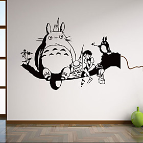 Animals My Neighbor Totoro Botanical Wall Decals / Cartoon WalL Stickers / Fantasy Wall Stickers Plane Wall Stickers,
