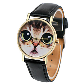 Image of Cat Face Watch,Women Watches,Leather Watch,Men's Watch ,Ladies Watch, Silver Gold Rose Watch,Unique Watches,Gift Cool Watches Unique Watches