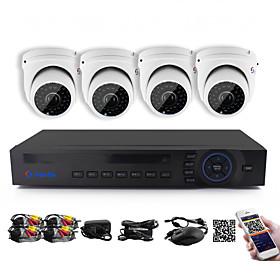 YanSe 1100TVL 2.8mm 4CH CCTV Cameras Seystem DVR Kit IR Color Waterproof Security Cameras D/N (8CH 960H HDMI DVR)