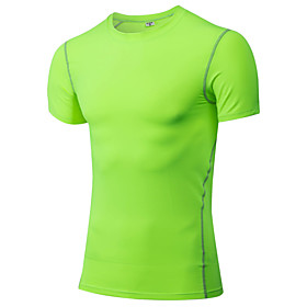 Men's Running T-Shirt Short Sleeves Quick Dry Sweat-wicking T-shirt Top for Exercise  Fitness Racing Running Polyester Gray Purple Red 5027086