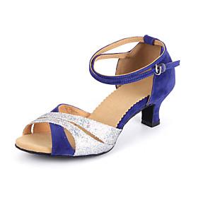 Non Customizable Women's Dance Shoes Latin / ballroom Suede/Leatherette Cuban Heel 5.5cm Heel Height Black  /Blue