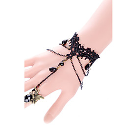 Gothic Style Black Lace Flower Rose Ring Bracelet for Lady Body Jewelry