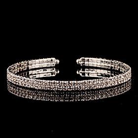 Women's Cuff Bracelet Silver Rhinestone