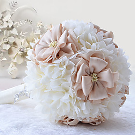 Cream With Champagne Elegant Hand Made Decorative Artificial Silk Flower Bride Bridal Wedding Bouquets