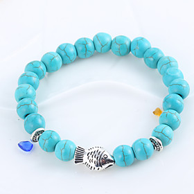 Natural Stone Turquoise Blue Matte Black Agate Elastic Bracelet Hand String Of Prayer Beads Whitebait Bracelets