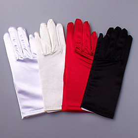 Wrist Length Fingertips Glove Satin Elastic Satin Bridal Gloves Party/ Evening Gloves Spring Summer Fall Winter