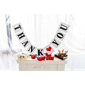 Popular White with Black Writing THANK YOU Banner Wedding Engagement Party Garlands Bunting Photo Prop 5003319