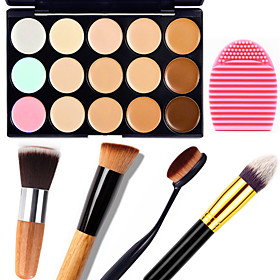1PCS 15 Colors Camouflage Natural Contour Face Cream/Facial Concealer Makeup Palette1 Contour Brush1 Brush Egg