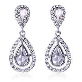 Luxury Drops Shape Cubic Zrconia Crystal Drop Earrings Jewelry for Lady(4.62)