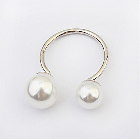 Hot Sell Fashion Elegant Women Silver Plated European Lovely Girls Simulated Pearl Adjustable Ring 5032656