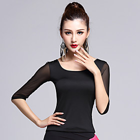 Latin Dance Dress Tops 1 Piece Women's Performance Rayon Black / White Half Sleeve BacklessNo Skirts 5053140