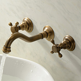 Bathroom Sink Faucet - Widespread Antique Brass Wall Mounted Three Holes / Two Handles Three HolesBath Taps
