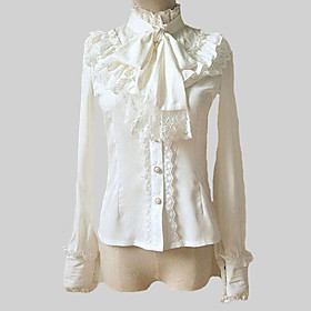 Blouse/Shirt Classic/Traditional Lolita Retro Style Stand Collar Long Sleeve Cosplay Lolita Blouse White Solid Lolita Blouse For Women Chiffon