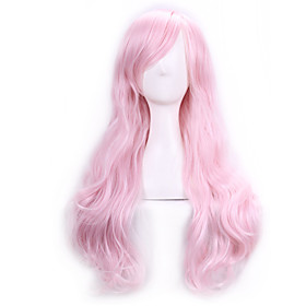 70 Cm Harajuku Anime Cosplay Wigs For Party Costume Women Ladies Long Full Wavy Curly Synthetic Hair Pink Wig