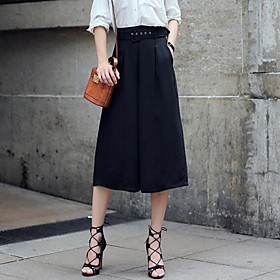 Image of Women's Solid Cropped Trousers Fashion Casual High Rise Wide Leg Pants,Vintage / Street chic
