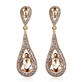4 Color Available Drops Shape Cubic Zrconia Crystal Drop Earrings Jewelry for Lady(1.96.2cm) 5027538