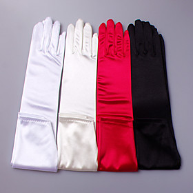 Elbow Length Fingertips Glove Satin Elastic Satin Bridal Gloves Party/ Evening Gloves Spring Summer Fall Winter