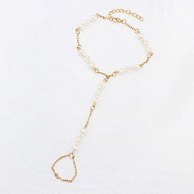 Women's Elegant European Style Fashion Trend Simple Imitation Pearl Anklet with Ring