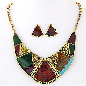 Women's Geometric Jewelry Set - Statement, Vintage, European Include Necklace / Earrings Rainbow For Party Daily Casual