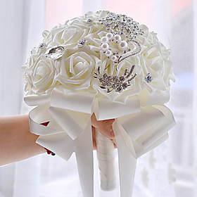 Vintage White Diamond Round Wedding Bouquet Wedding Accessories