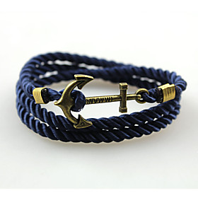 Fashion Bracelet Anchor Bracelet Alloy Rope Wrap Bracelets Simple Handmade Multilayer Bangle  1pc Christmas Gifts