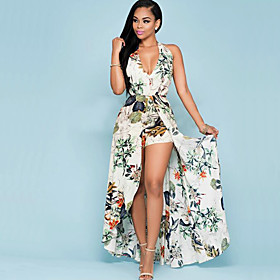 Women's Print Chiffion Backless Slim Jumpsuits,Vintage Halter Sleeveless