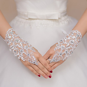 Wrist Length Fingerless Glove Lace / Polyester Bridal Gloves / Party/ Evening Gloves