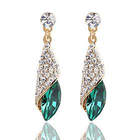 Full Of Diamond Emerald Heart Of Ocean Droplets Earrings Wedding Jewelry