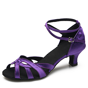 Women's Satin Latin Shoes / Modern Shoes Buckle Heel Stiletto Heel Customizable Purple / Indoor / Practice Category:Latin Shoes,Modern Shoes; Upper Materials:Satin; Embellishment:Buckle; Lining Material:Synthetic; Heel Type:Stiletto Heel; Actual Heel Height:2.17; Style:Heel; Outsole Materials:Cork; Occasion:Practice,Indoor; Closure Type:Buckle; Customized Shoes:Customizable; Listing Date:07/18/2016; Foot Length:; SizeChart1_ID:2:468; Size chart date source:Provided by Supplier.; Base Categories:Dance Shoes,Shoes,Apparel  Accessories